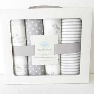 Cloud Island 4 pk Receiving Blankets